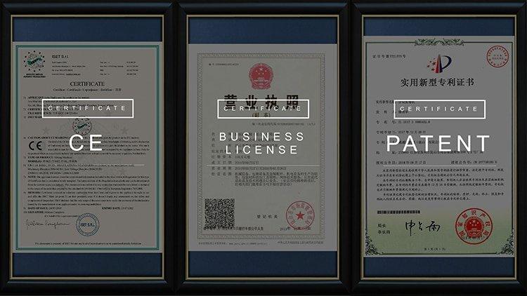 Jota Machinery Certificates