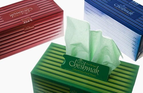 Colored-facial-tissues